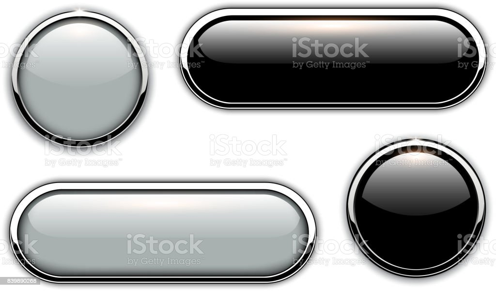 Glossy buttons metallic vector art illustration