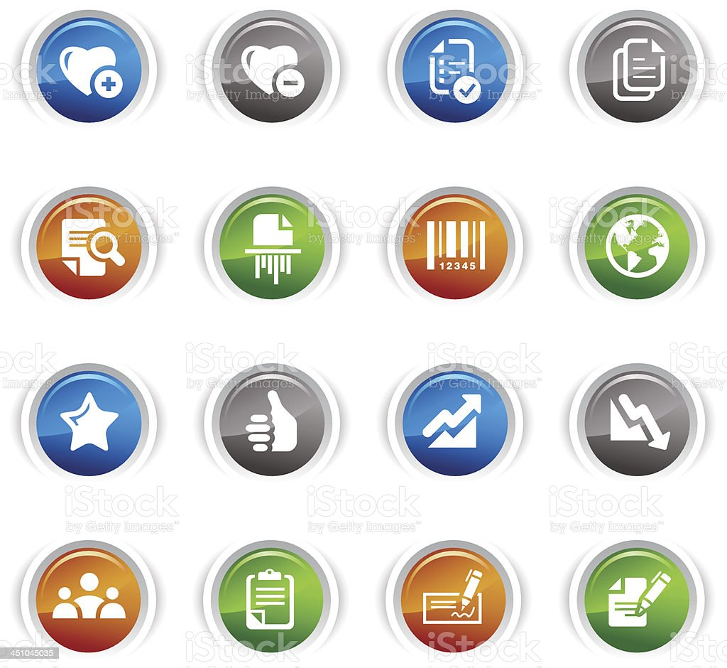 Glossy Buttons - Office and Business icons royalty-free glossy buttons office and business icons stock vector art & more images of admiration