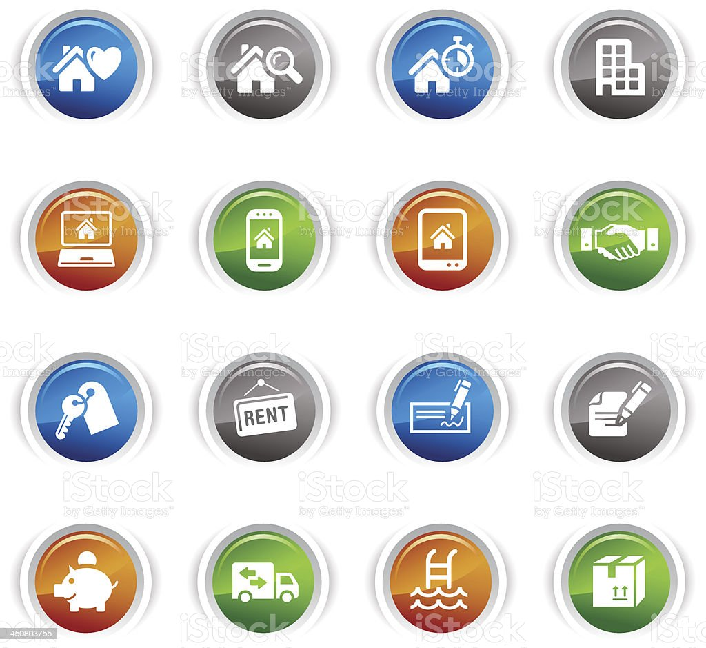 Glossy Buttons - Real estate icons royalty-free glossy buttons real estate icons stock vector art & more images of agreement