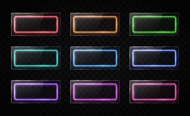 glänzende knöpfe gesetzt. bunte halogenlampe web-banner sammlung mit glas-texturplatten. rechteckbilder mit leerem textplatz auf transparentem hintergrund. helles design vektorabbildung. - dashboard, hintergrund, hell stock-grafiken, -clipart, -cartoons und -symbole