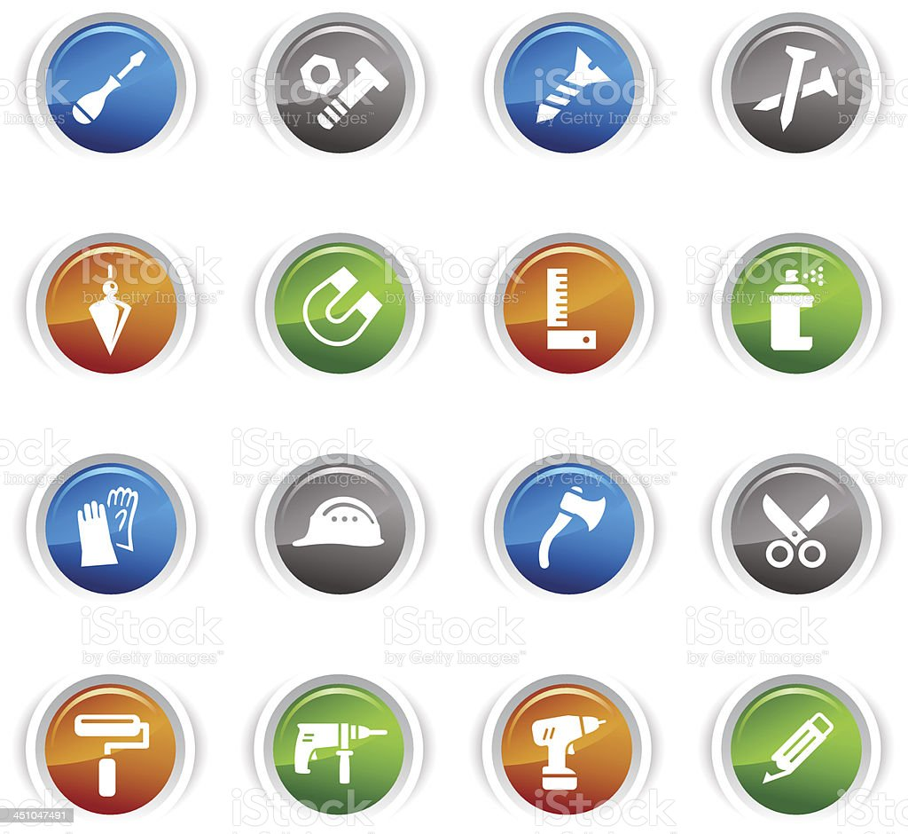 Glossy Buttons - Tools and Construction icons royalty-free stock vector art