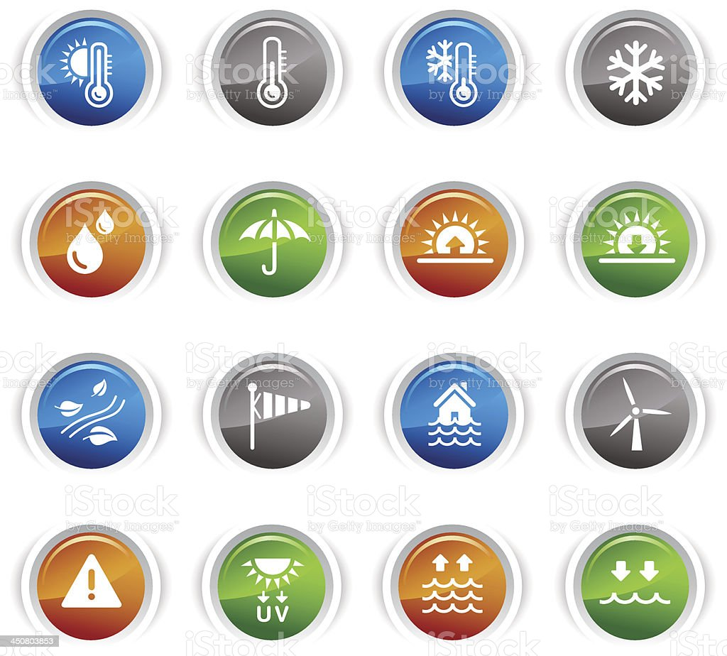 Glossy Buttons - Weather and Meteorology Icons royalty-free stock vector art
