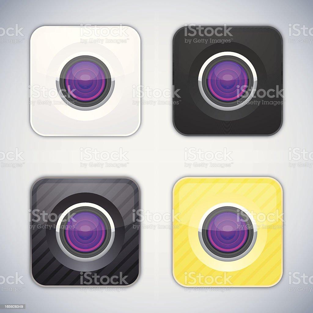 Glossy camera buttons vector art illustration