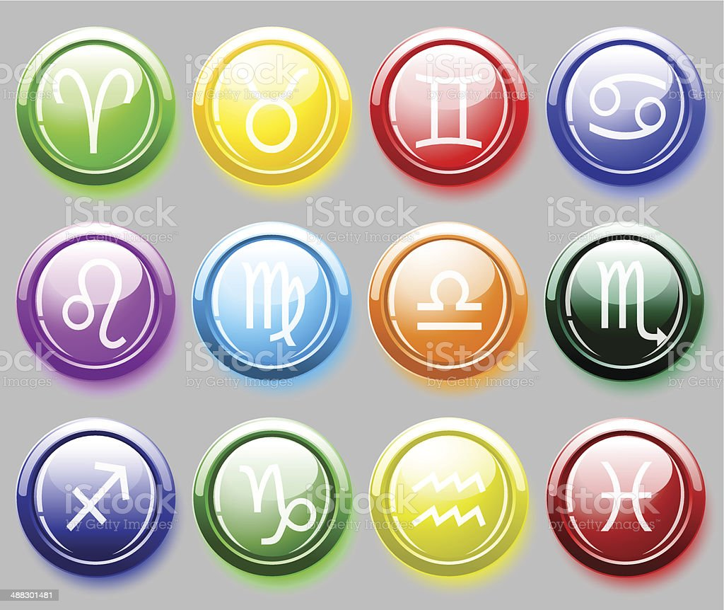 Glossy colore buttons with zodiac signs for web royalty-free stock vector art