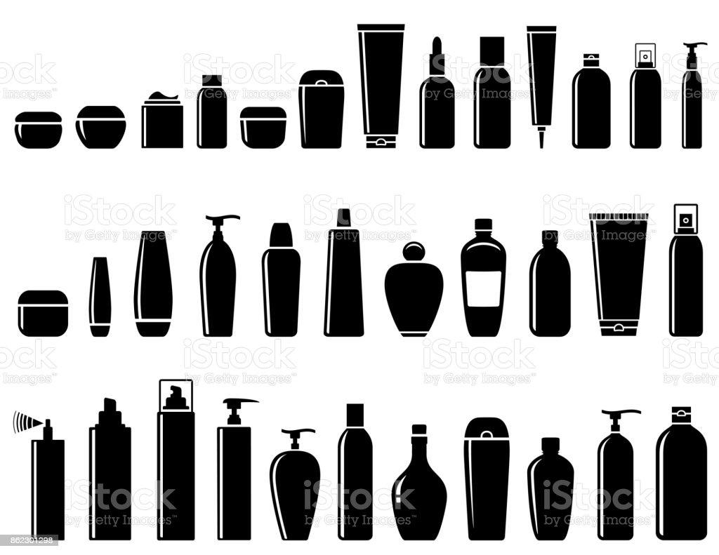 glossy cosmetic bottle set vector art illustration