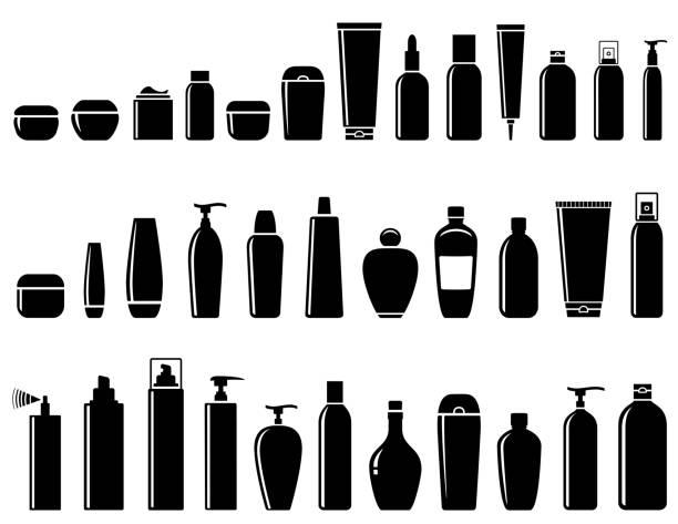 glänzende kosmetische flasche satz - shampoos stock-grafiken, -clipart, -cartoons und -symbole