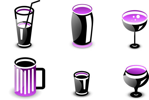 Glossy drinks and beverages vector icon set Set of glossy black and purple drinks and beverages icons: tall glass, pitcher, thermos bottle, wine, beer mug. drawing of a glass liquor flask stock illustrations