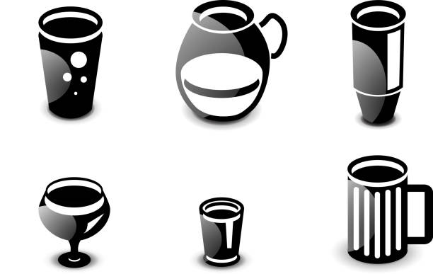 Glossy drinks and beverages vector icon set Set of glossy black and white drinks and beverages icons: tall glass, pitcher, thermos bottle, wine, beer mug. drawing of a glass liquor flask stock illustrations