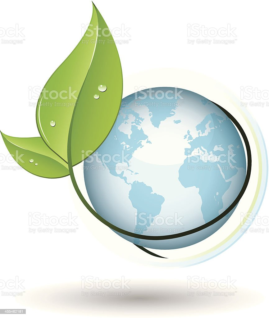 glossy earth with sprouting leaves vector art illustration