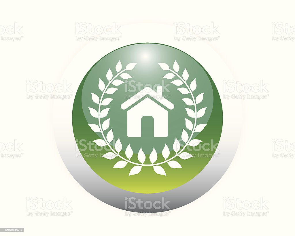 Glossy Eco Friendly Home Icon Button royalty-free stock vector art