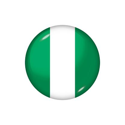 Glossy flag icon ofNigeria