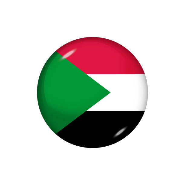 Glossy flag icon ofSudan Icon flag of Sudan . Round glossy flag. Vector illustration. EPS 10 omdurman stock illustrations