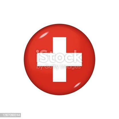istock Glossy flag icon ofSwitzerland 1267090244