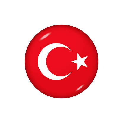 Glossy flag icon ofTurkey