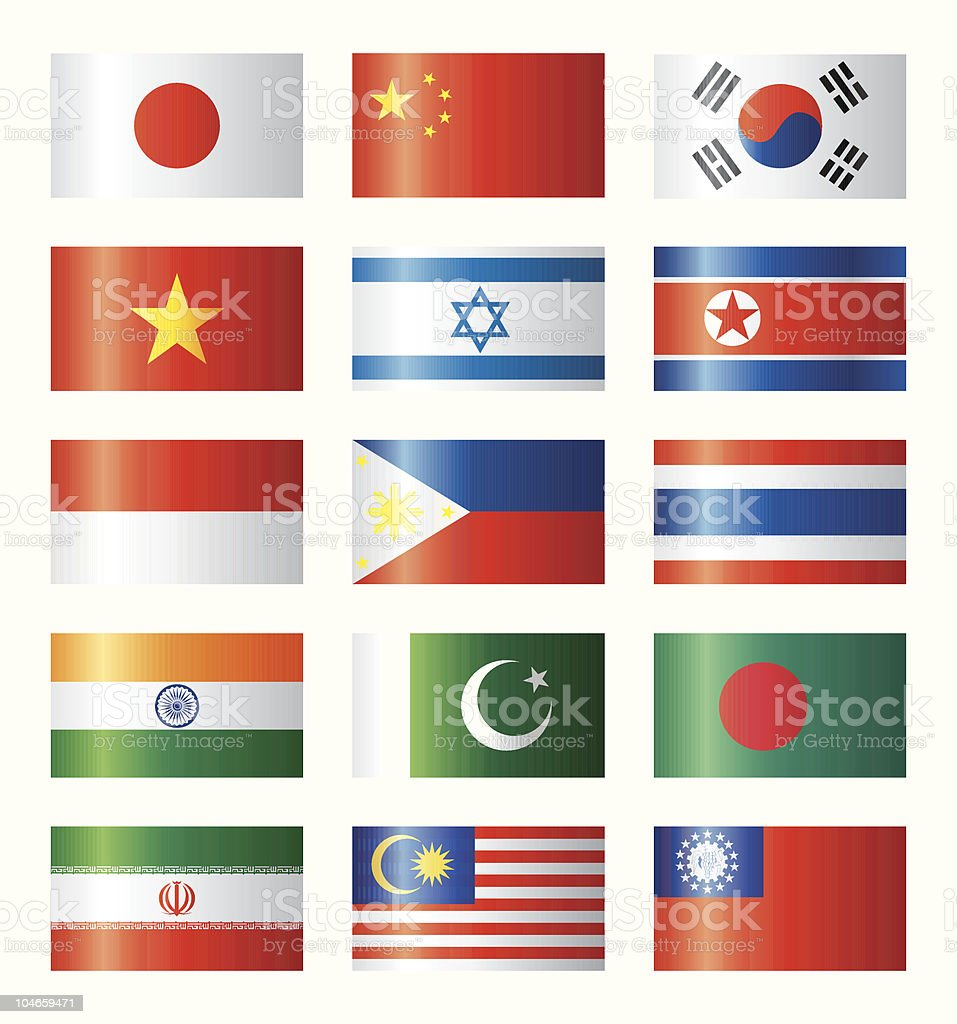 Glossy flags set - Asian royalty-free stock vector art