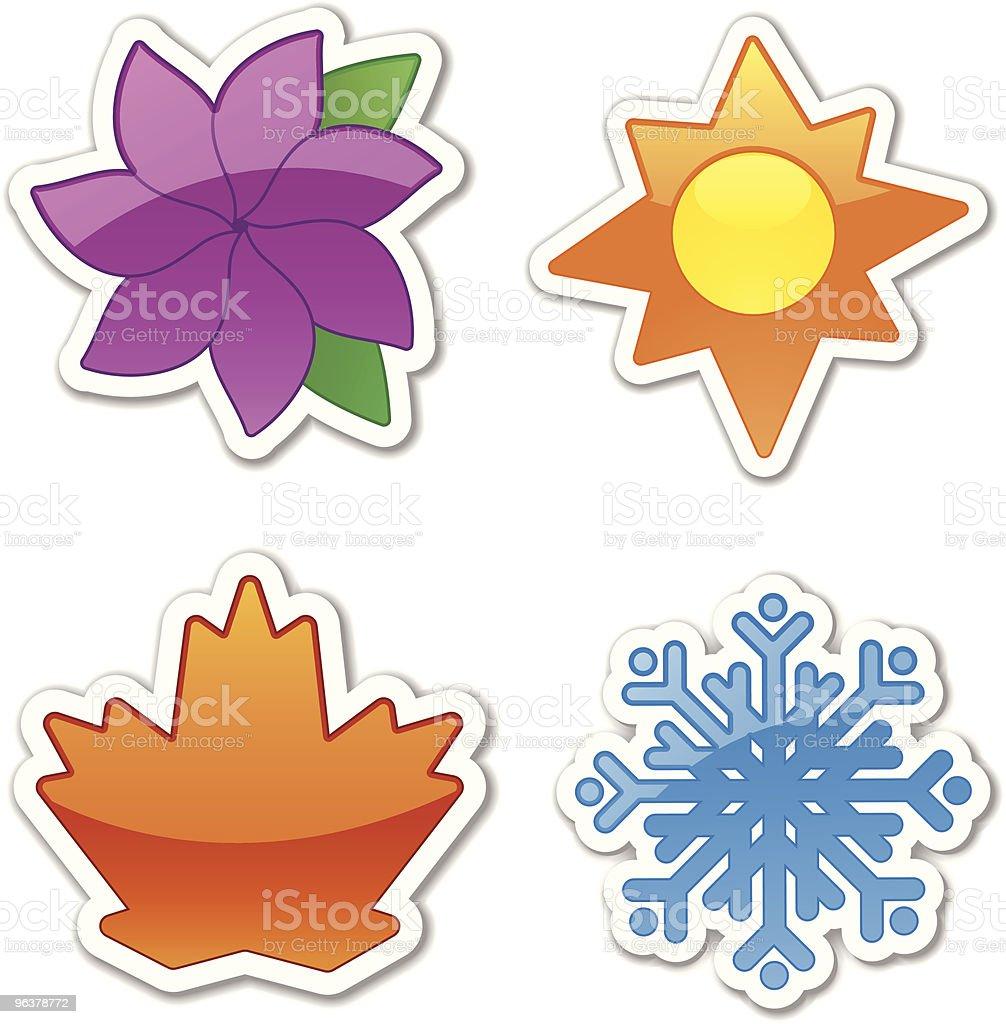 Glossy Four Season Stickers royalty-free glossy four season stickers stock vector art & more images of autumn