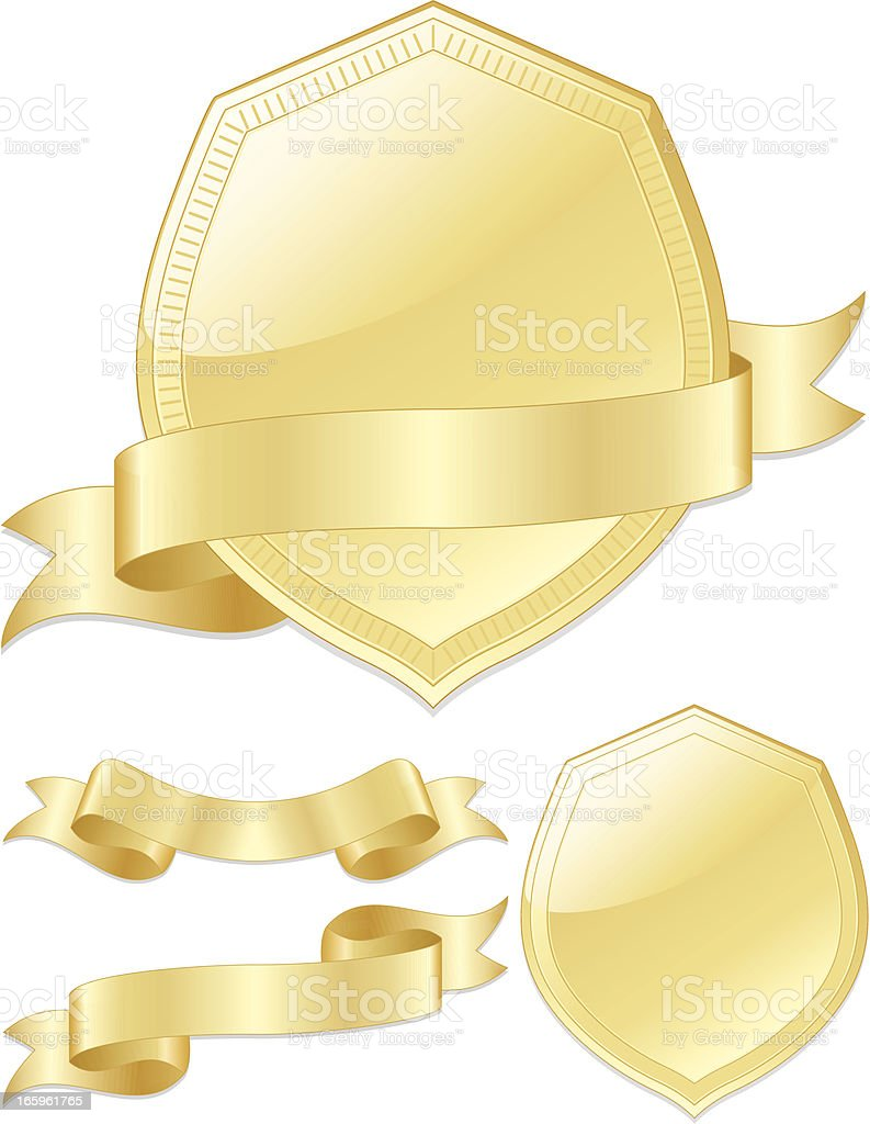 Glossy Gold Shields, Ribbons, Emblems Set royalty-free stock vector art