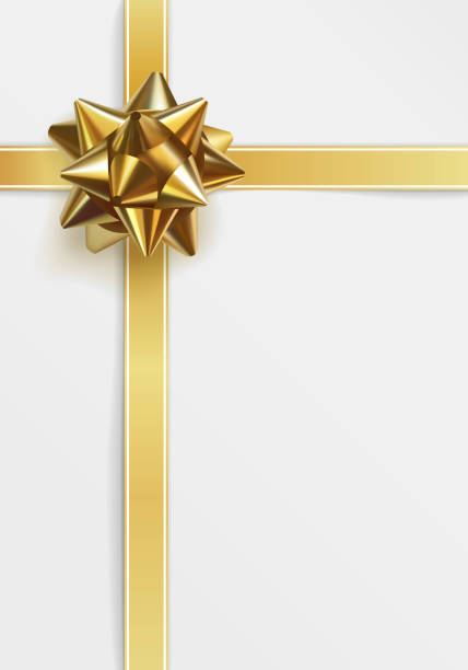 Glossy golden bow. Greeting card template vector art illustration