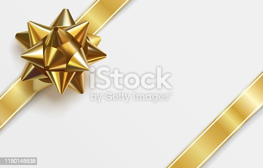 Glossy golden bow. Realistic vector illustration. Glowing bow with two gold ribbons isolated on white background. Festive decorative element for design. Holiday gift decoration. Greeting card template