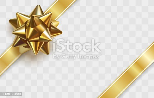 Glossy golden bow. Realistic vector illustration. Glowing bow with two gold ribbons isolated on transparent background. Festive decorative element. Holiday gift decoration. Greeting card template