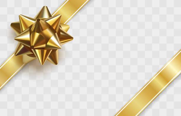 błyszcząca złota kokarda. szablon karty z pozdrowieniami - gift stock illustrations