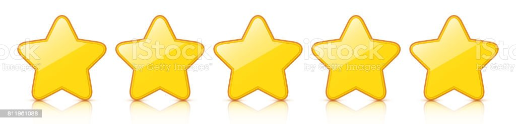 Glossy golden five star icon rating with reflection. vector art illustration