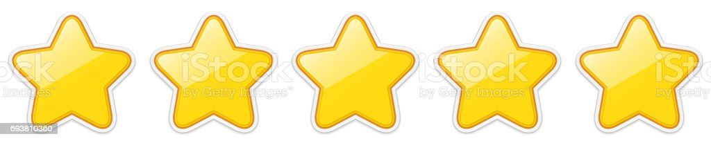 Glossy golden five star sticker icon rating. vector art illustration