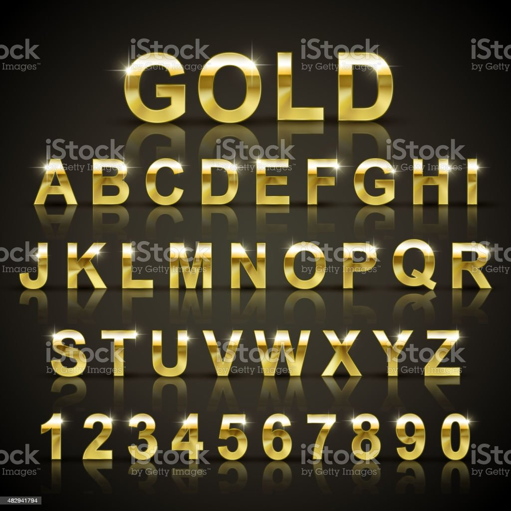 glossy golden font design set vector art illustration