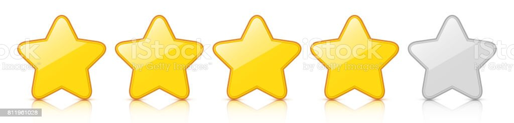 Glossy golden four star icon rating with reflection. vector art illustration
