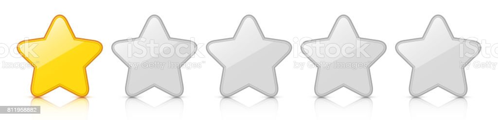 Glossy golden one star icon rating with reflection. vector art illustration