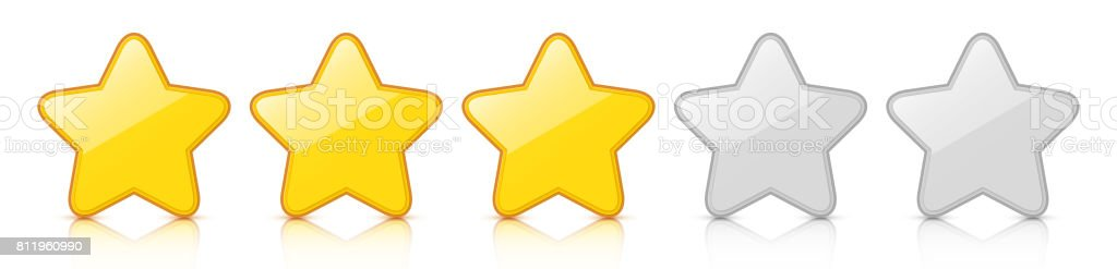 Glossy golden three star icon rating with reflection. vector art illustration