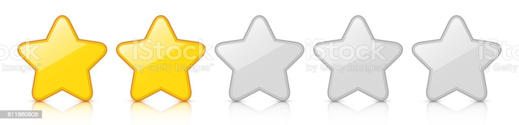 Glossy golden two star icon rating with reflection. vector art illustration