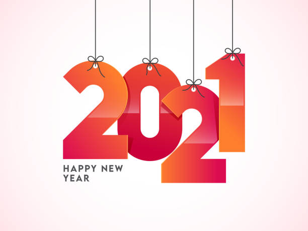 Glossy Gradient 2021 Number Hang on White Background for Happy New Year. vector art illustration