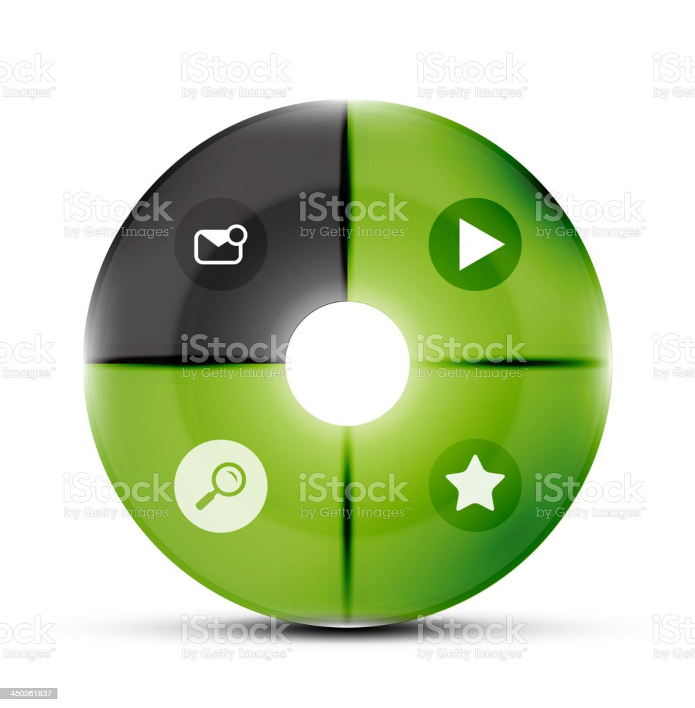 Glossy green and black round website navigation royalty-free stock vector art