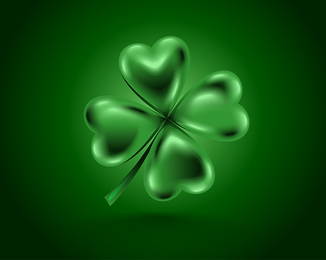 Glossy green clover leaf, vector illustration for St. Patrick day. Isolated four-leaf on green background