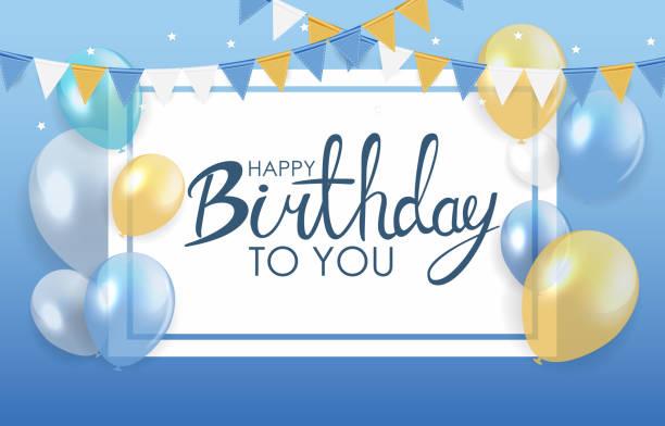 ilustrações, clipart, desenhos animados e ícones de o feliz aniversario lustroso balloons a ilustração do vetor do fundo - aniversario