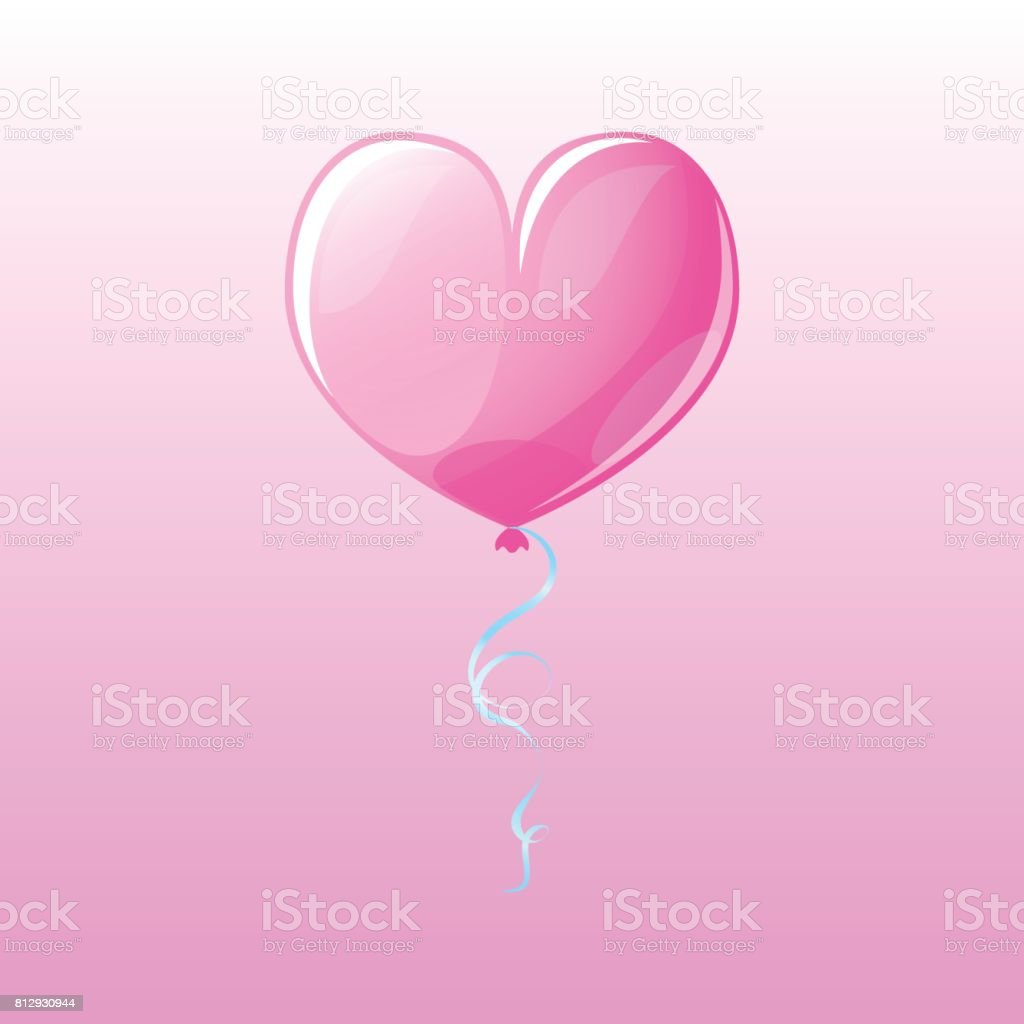 Glossy heart air balloon on pink background. Valentine day vector clipart. vector art illustration