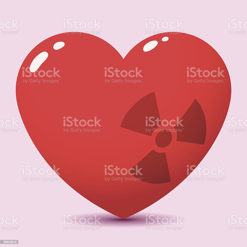Glossy heart with radioactive symbol royalty-free glossy heart with radioactive symbol stock vector art & more images of color image
