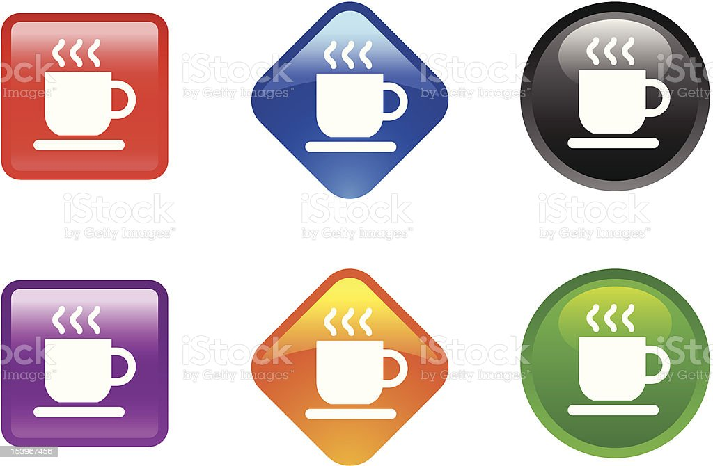 Glossy Icon Series | Coffee or Tea royalty-free glossy icon series coffee or tea stock vector art & more images of black color