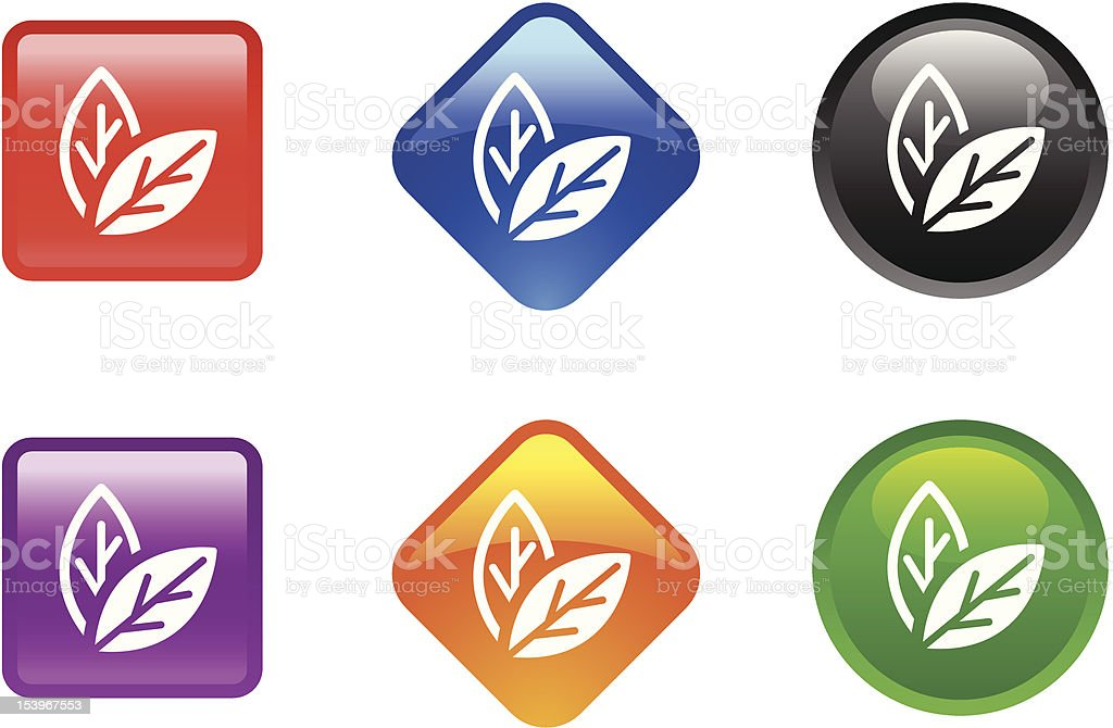 Glossy Icon Series | Leaves royalty-free stock vector art