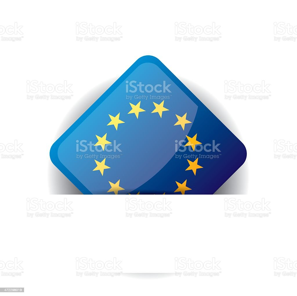 Glossy icon with Flag of European Union in white pocket royalty-free stock vector art