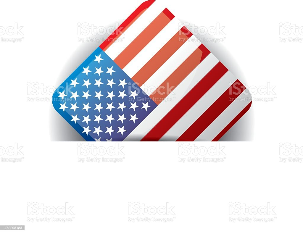 Glossy icon with Flag of USA in white pocket vector art illustration