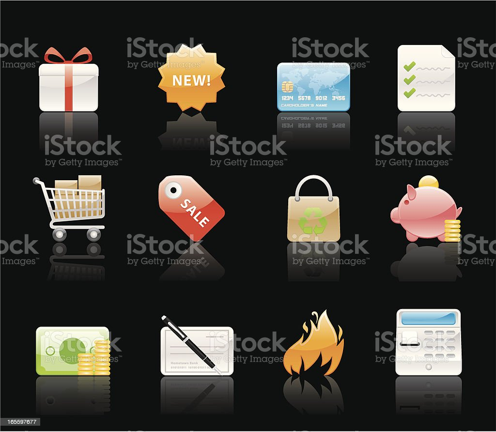 Glossy Icons - Shopping royalty-free glossy icons shopping stock vector art & more images of bag