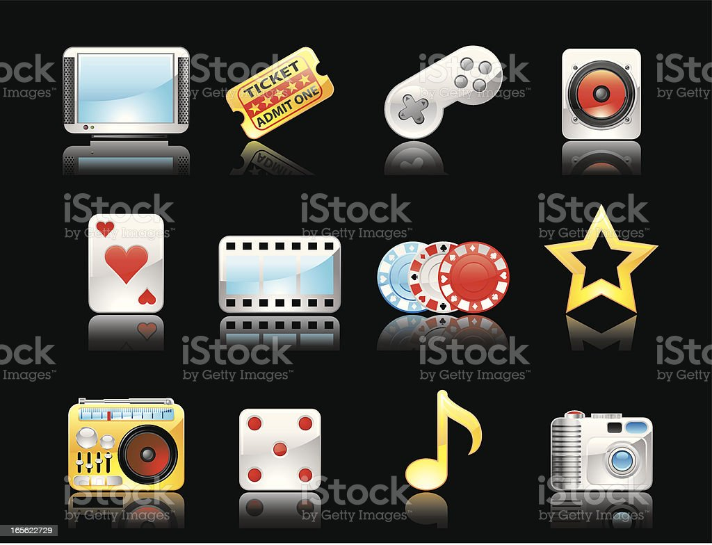 Glossy icons(Reflections on black background) vector art illustration