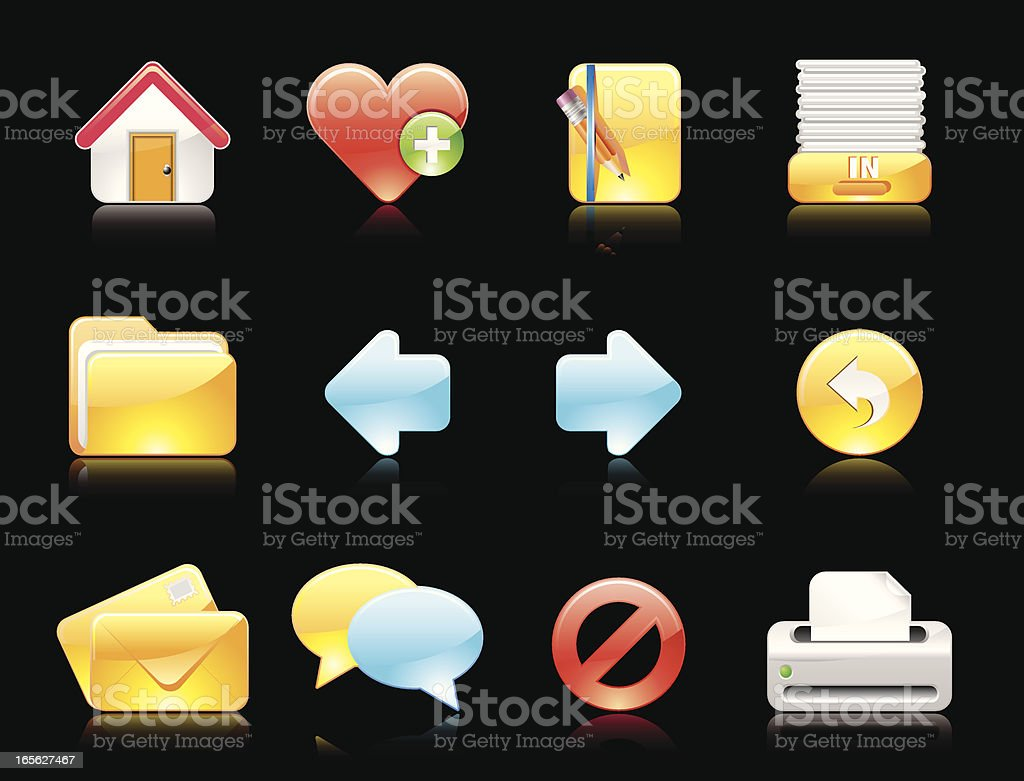 Glossy icons(Reflections on black background) royalty-free glossy icons stock vector art & more images of arrow symbol