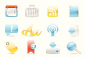 Glossy icons. Gradients only (no mesh).