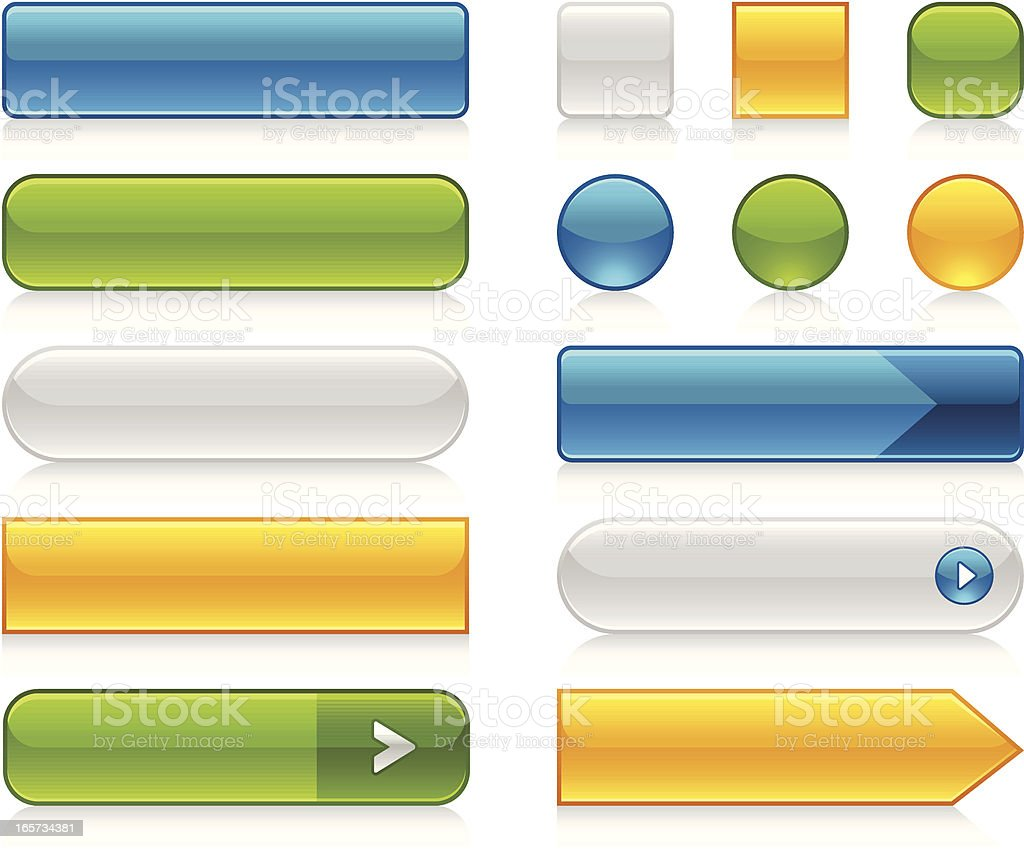 Glossy Internet Buttons vector art illustration
