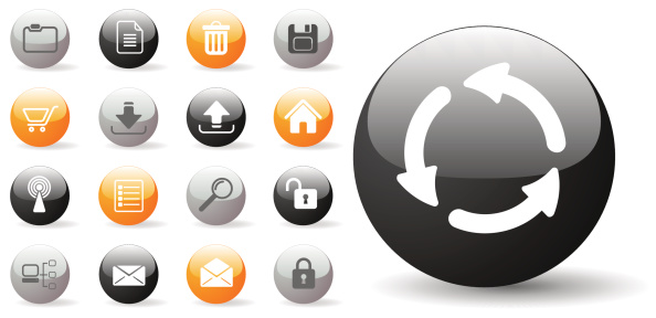 Glossy Internet Icon Set For Websites Stock Illustration - Download Image Now