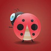 glossy lady bug character