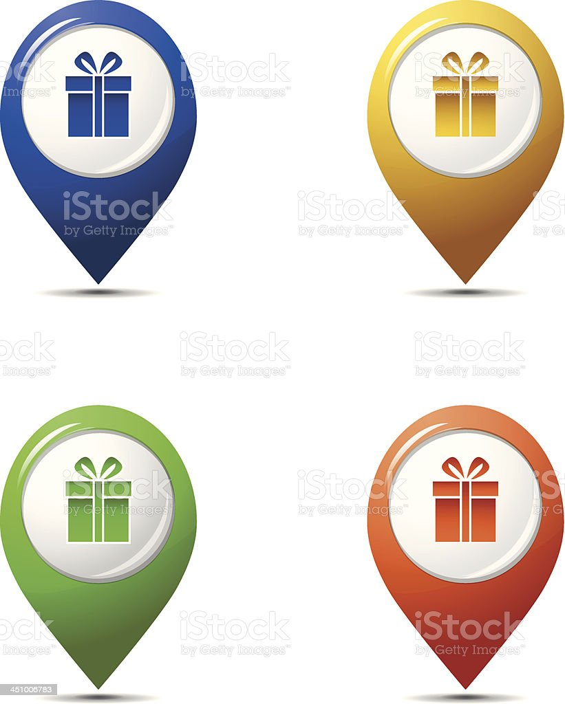 Glossy map pointers with gift boxes royalty-free glossy map pointers with gift boxes stock vector art & more images of abstract